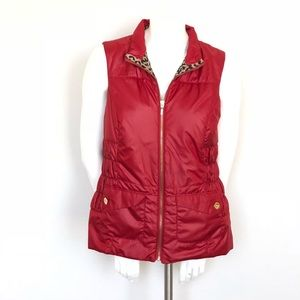 Chico's Red and Leopard Print Zip Up Vest Jacket